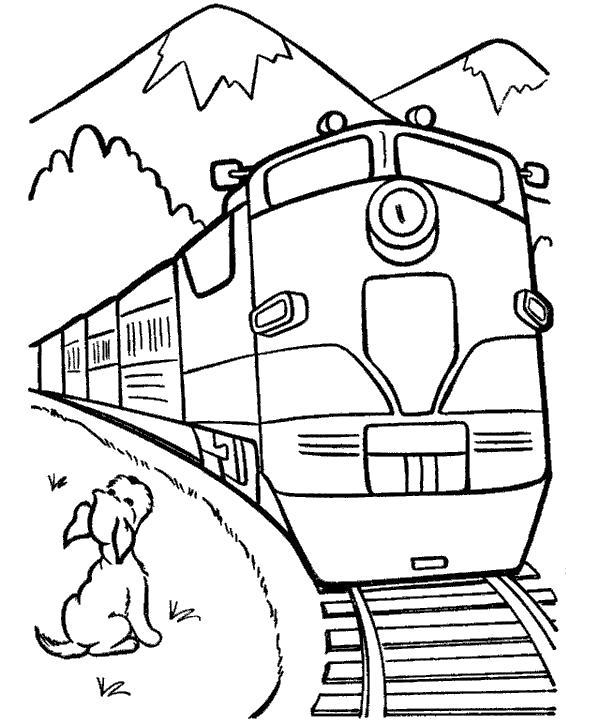 Раскраска Собачка и поезд. Скачать поезд.  Распечатать для мальчиков