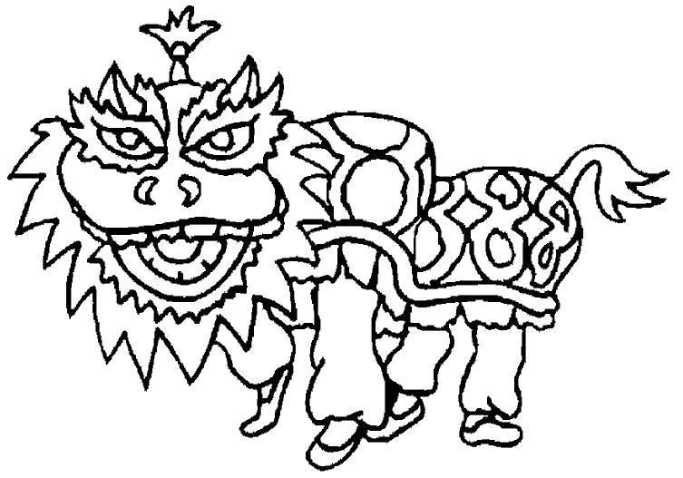 Раскраска Китайский дракон. Скачать .  Распечатать