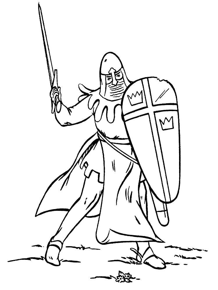 Раскраска Рыцарь обороняется. Скачать рыцари.  Распечатать рыцари