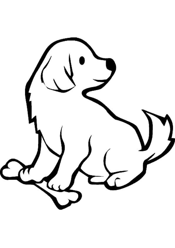 Раскраска щенок с обедом. Скачать Собаки.  Распечатать Собаки