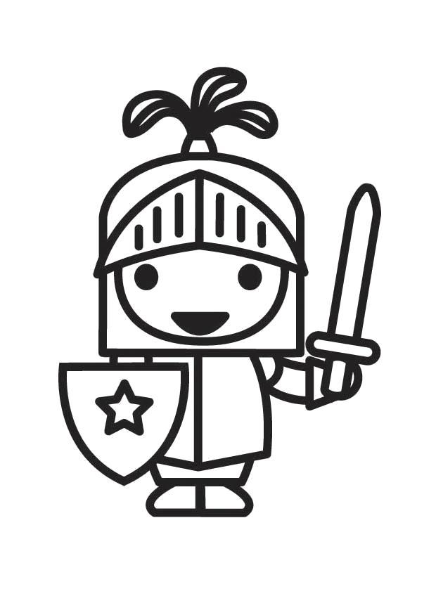 Раскраска  Малыш рыцарь. Скачать Рыцарь.  Распечатать Рыцарь