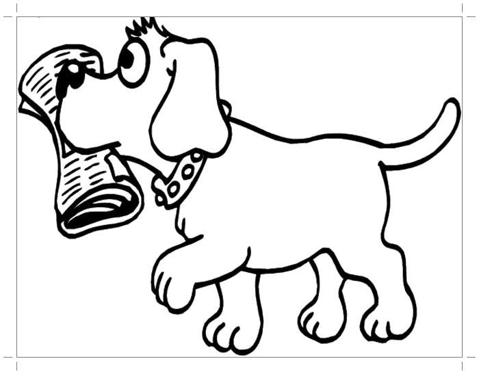 Раскраска  щенок с газетой. Скачать Щенок.  Распечатать Щенок