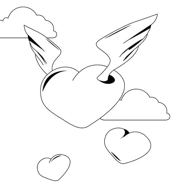 Раскраска сердце с рылышками. Скачать сердце.  Распечатать сердце
