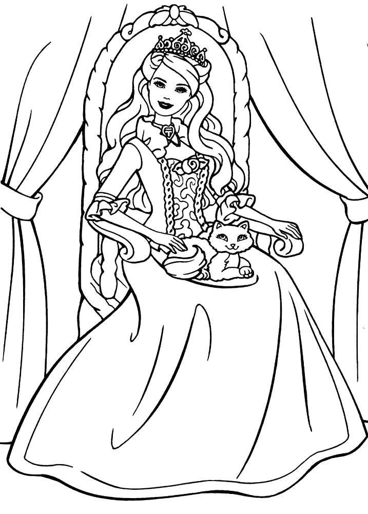Раскраска Принцесса Барби. Скачать .  Распечатать