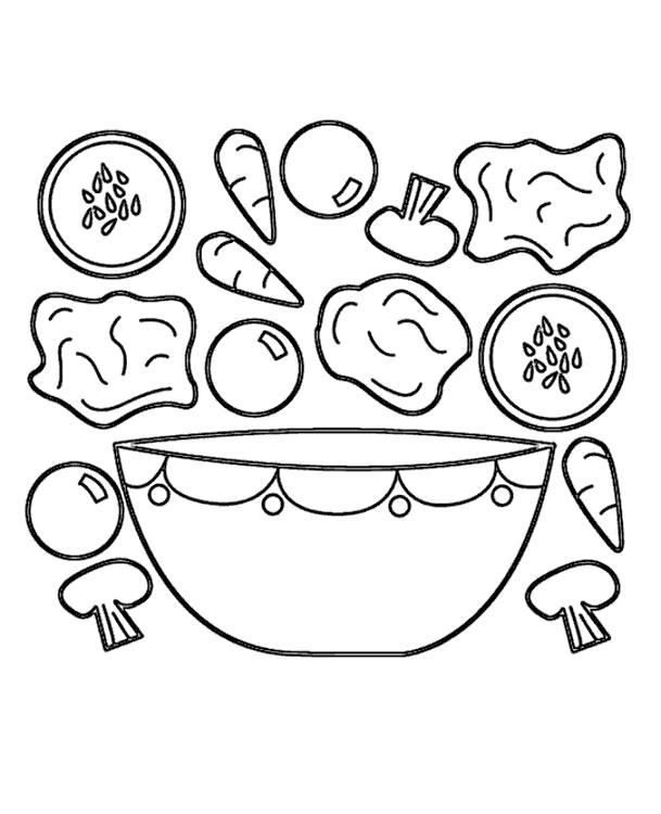 Раскраска Овощи и грибы. Скачать .  Распечатать