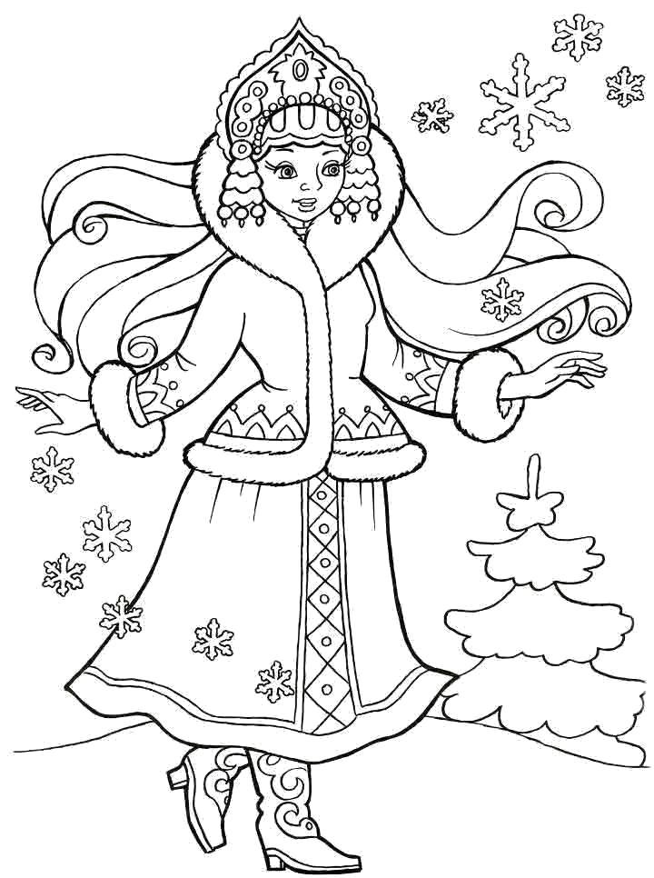 Раскраска Красивая снегурочка гуляет по зимнему лесу.. Скачать Снегурочка.  Распечатать Новый год
