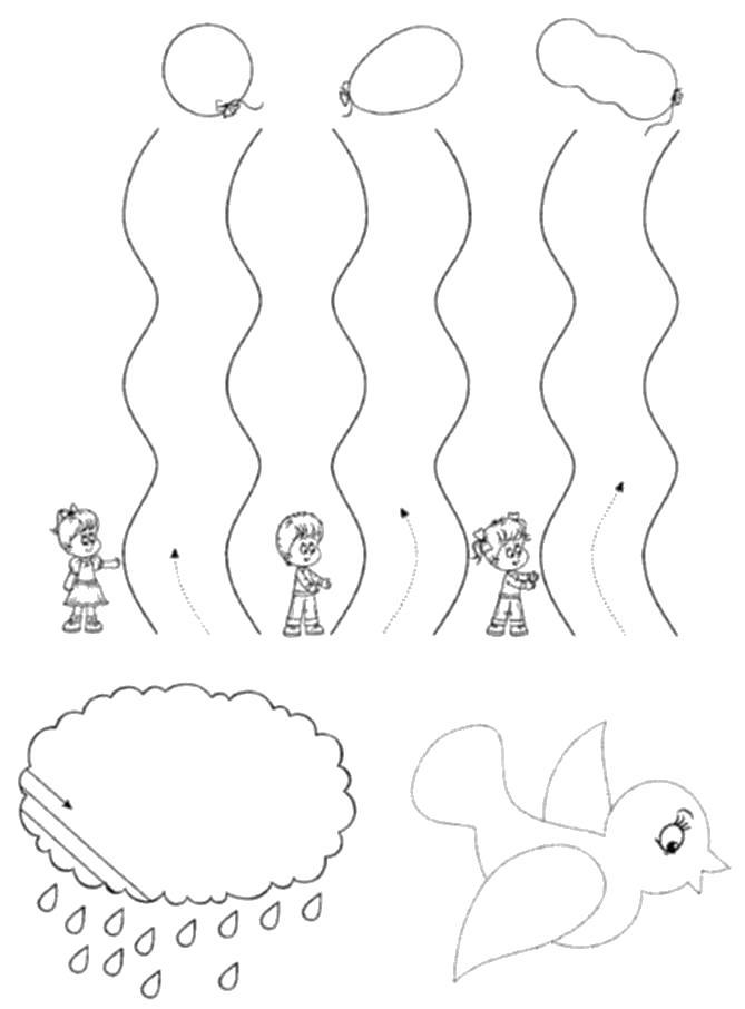 Раскраска Дорожки-штриховки, дети, воздушные шарики, облако, птица . Скачать штриховки.  Распечатать Прописи с рисунками