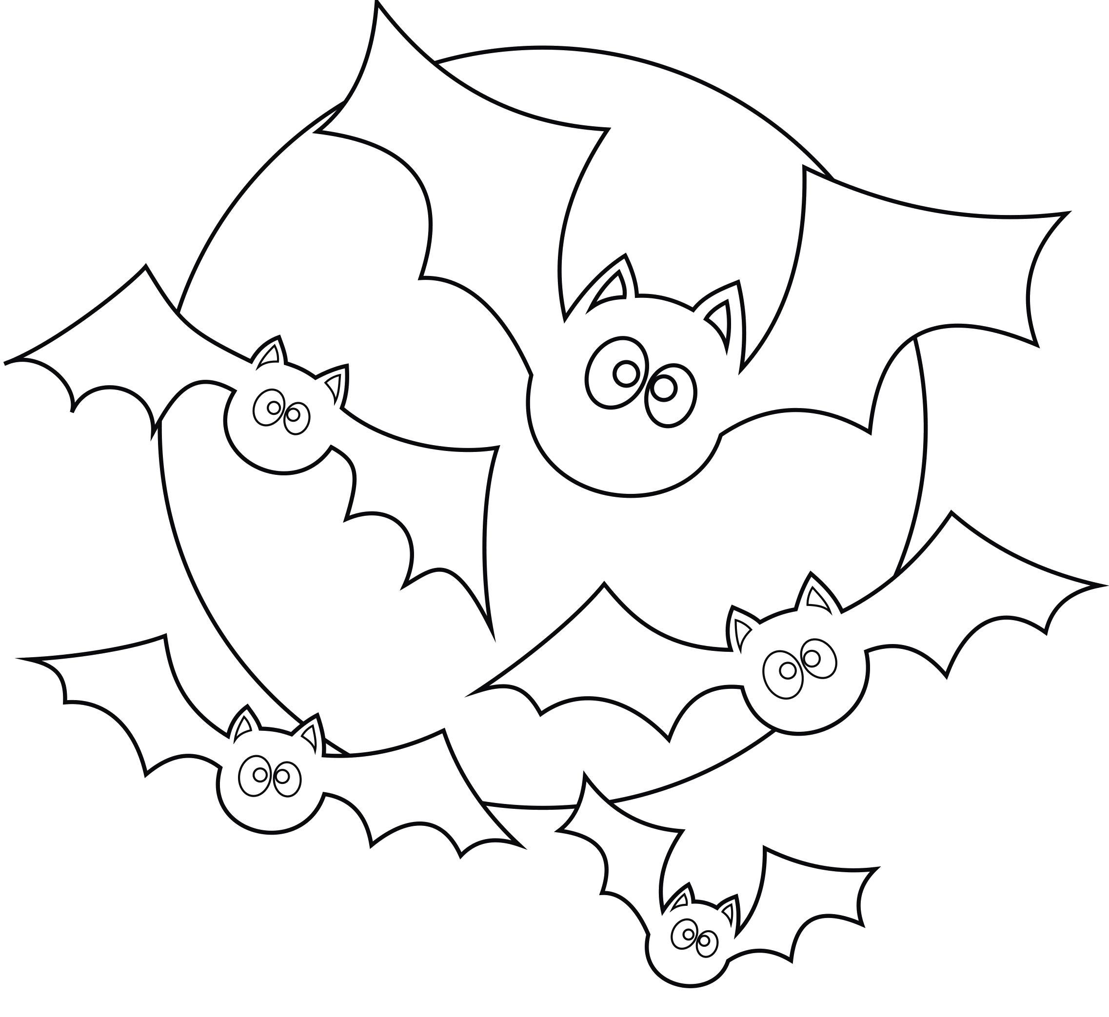 Раскраска Луна и летучие мыши. Скачать ужасы.  Распечатать Хэллоуин