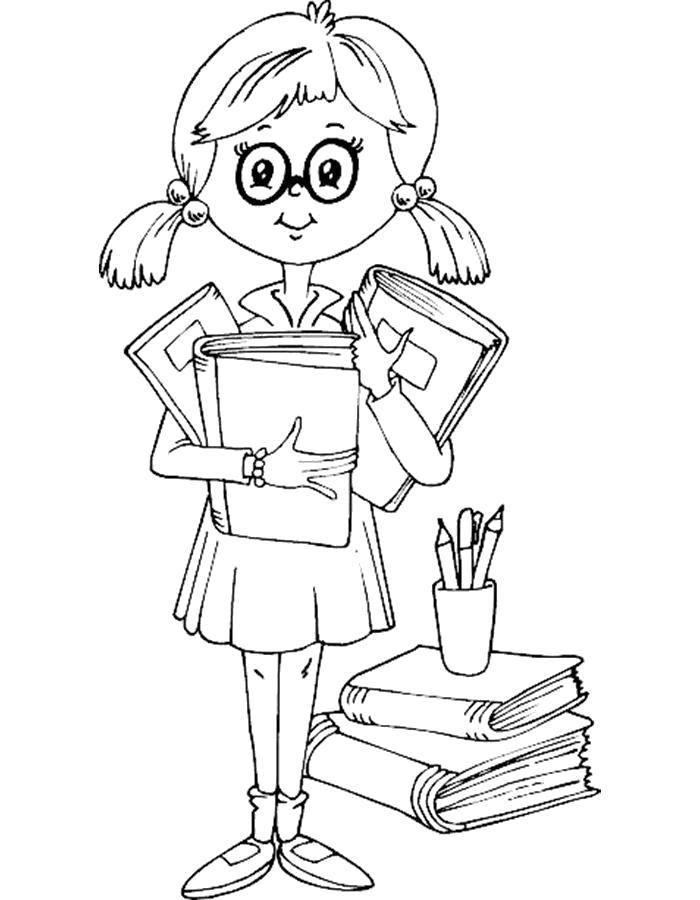 Раскраска  школа. Девочка школьница держит учебники. Скачать Школа.  Распечатать Школа