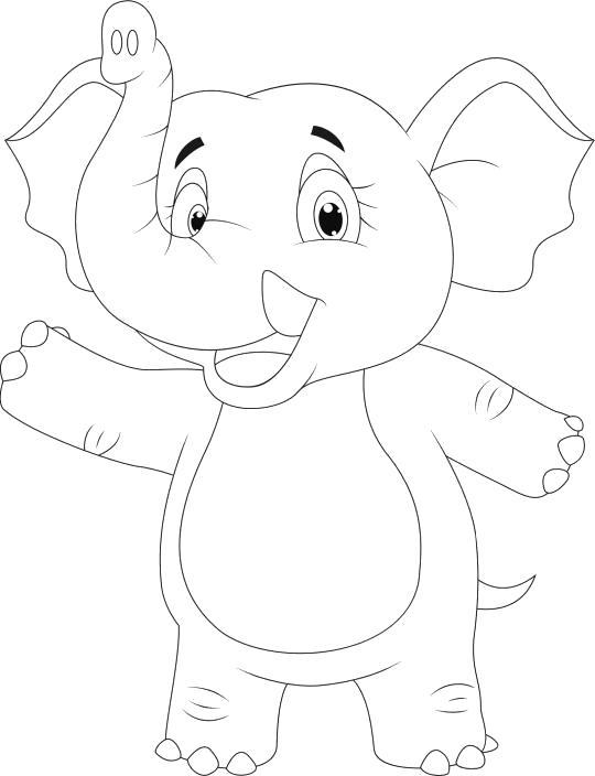 Раскраска слоник стоит на двух лапах. Скачать слон.  Распечатать слон