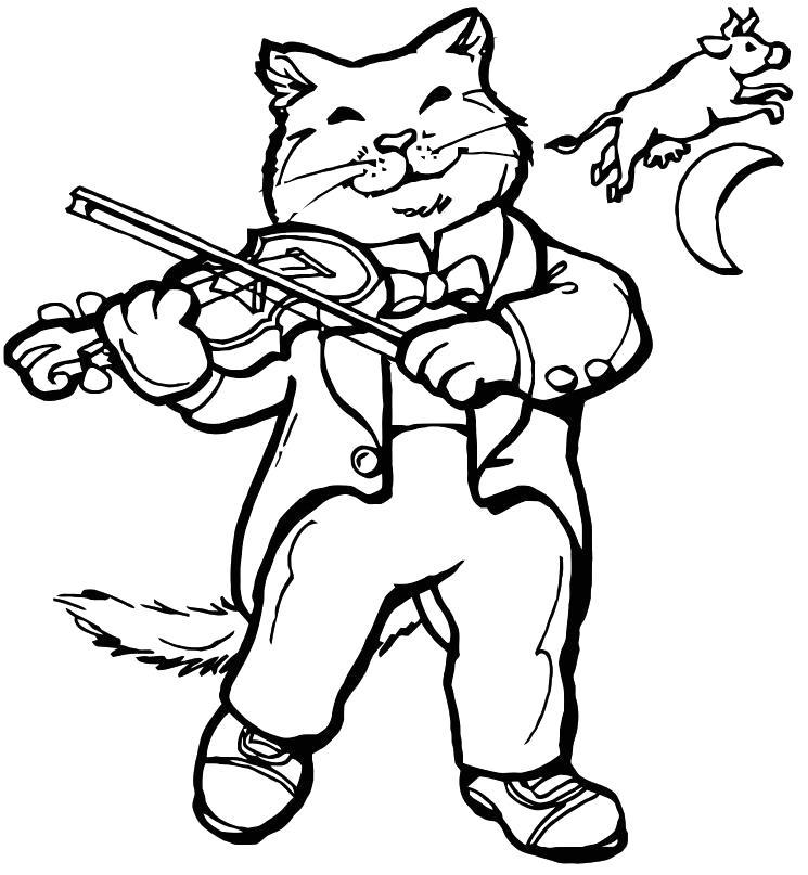 Раскраска Кот скрипач. Скачать Скрипка.  Распечатать Скрипка