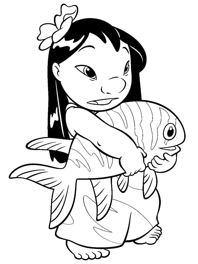 Раскраска  Лило и рыба. Скачать Лило и Стич.  Распечатать Лило и Стич