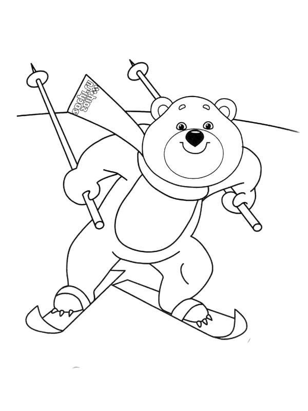 Раскраска  олимпийские талисманы мишка лыжный спорт, мишка катается на лыжах.. Скачать Мишка.  Распечатать Мишка