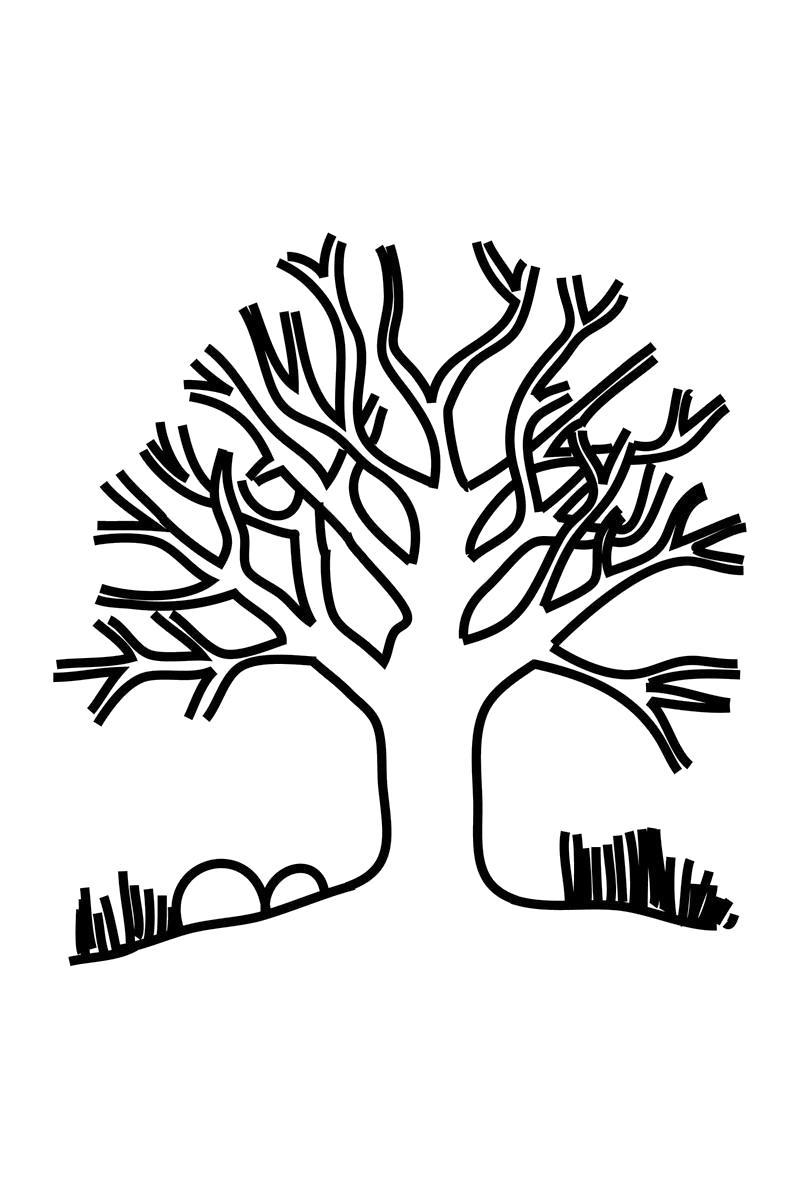 Раскраска Дерево без листьев. Скачать деревья.  Распечатать деревья