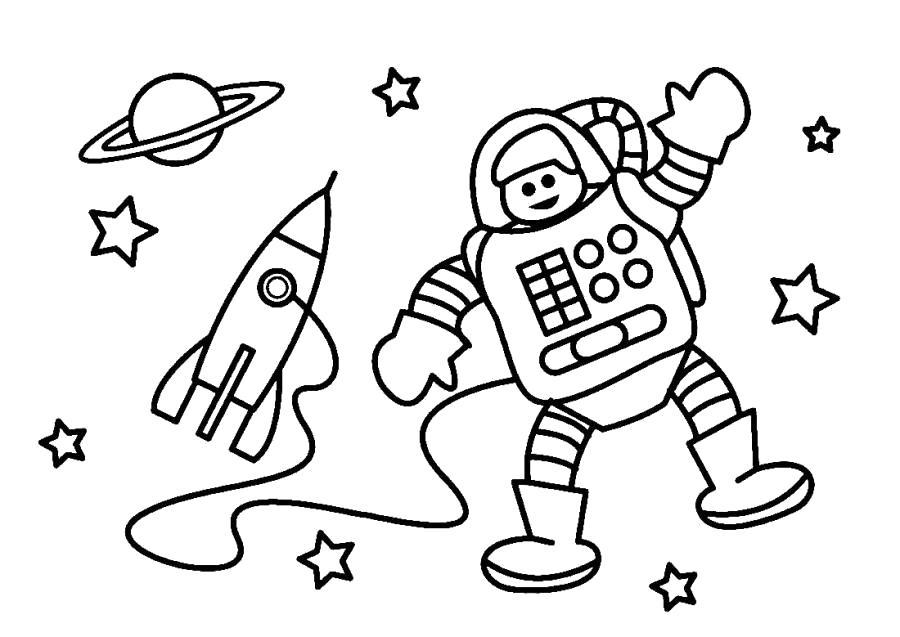 Раскраска Космонавт машет рукой. Скачать .  Распечатать