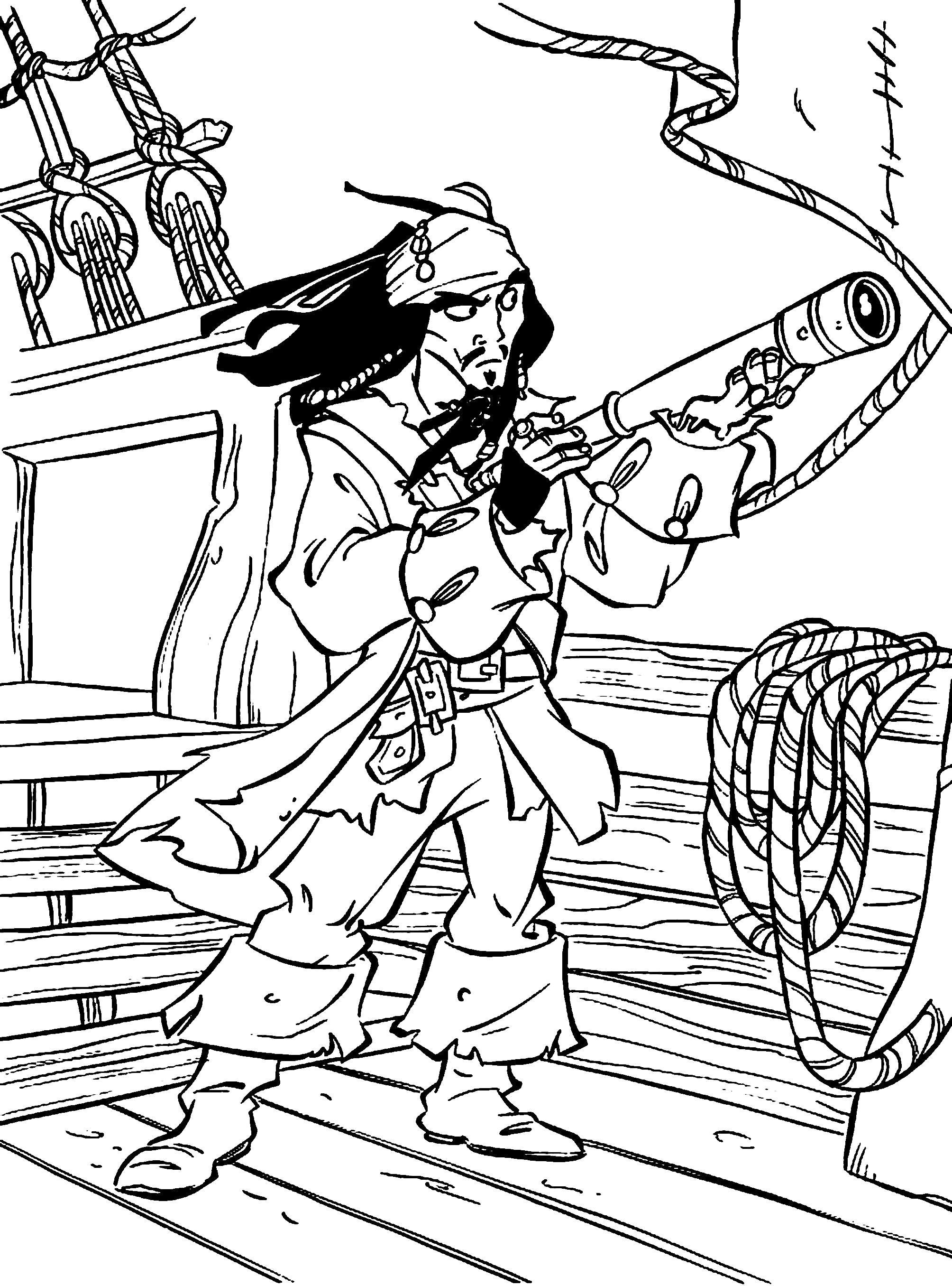 Раскраска Джек воробей. Скачать Пират.  Распечатать Пират