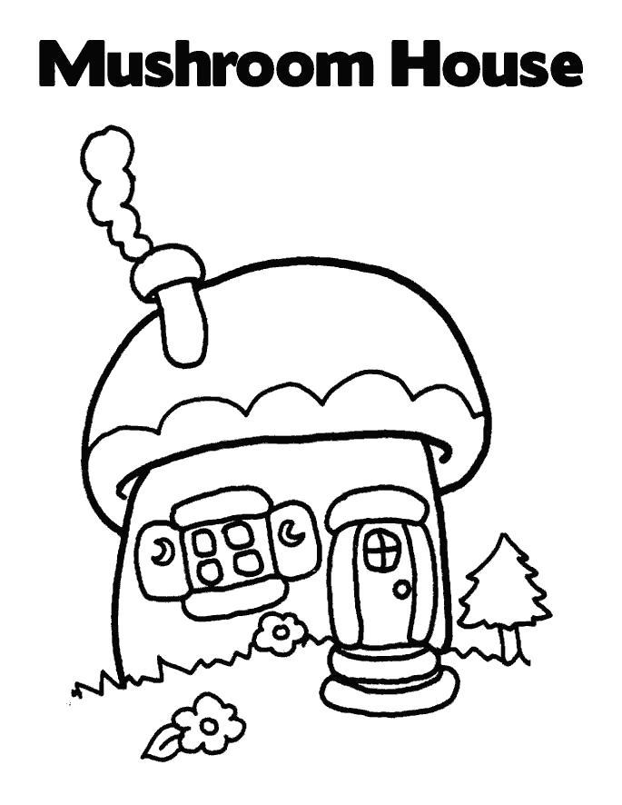 Раскраска Грибной домик, дом из гриба. Скачать Дом.  Распечатать Дом