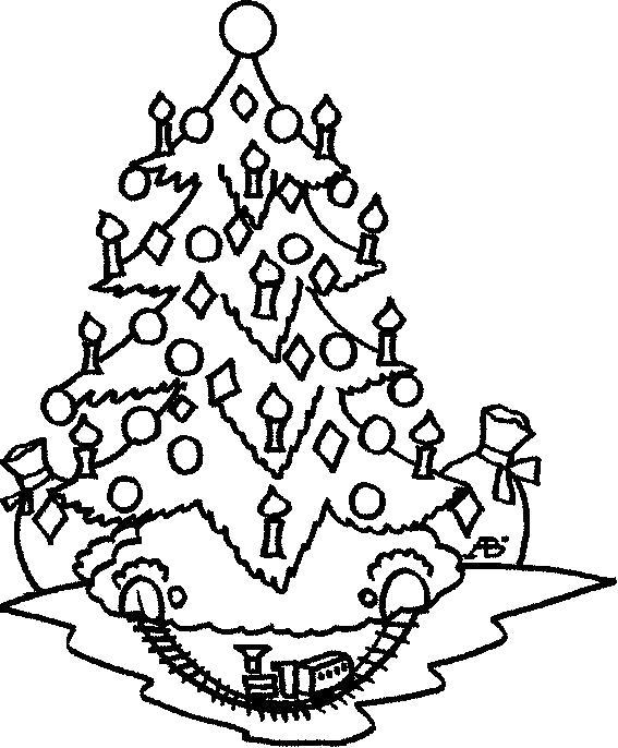 Раскраска Новогодняя елка с железной дорогой.. Скачать Елка.  Распечатать Новый год