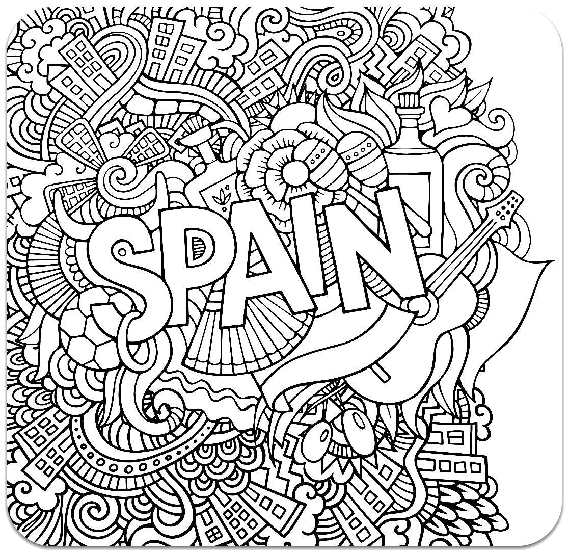 Раскраска Испания. Скачать узоры, цветы, для взрослых.  Распечатать антистресс