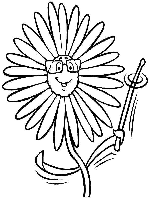 Раскраска Умный цветочек. Скачать Цветок.  Распечатать Цветок