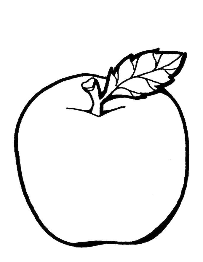 Раскраска Детские  фрукты, яблоко . Скачать яблоко.  Распечатать Фрукты