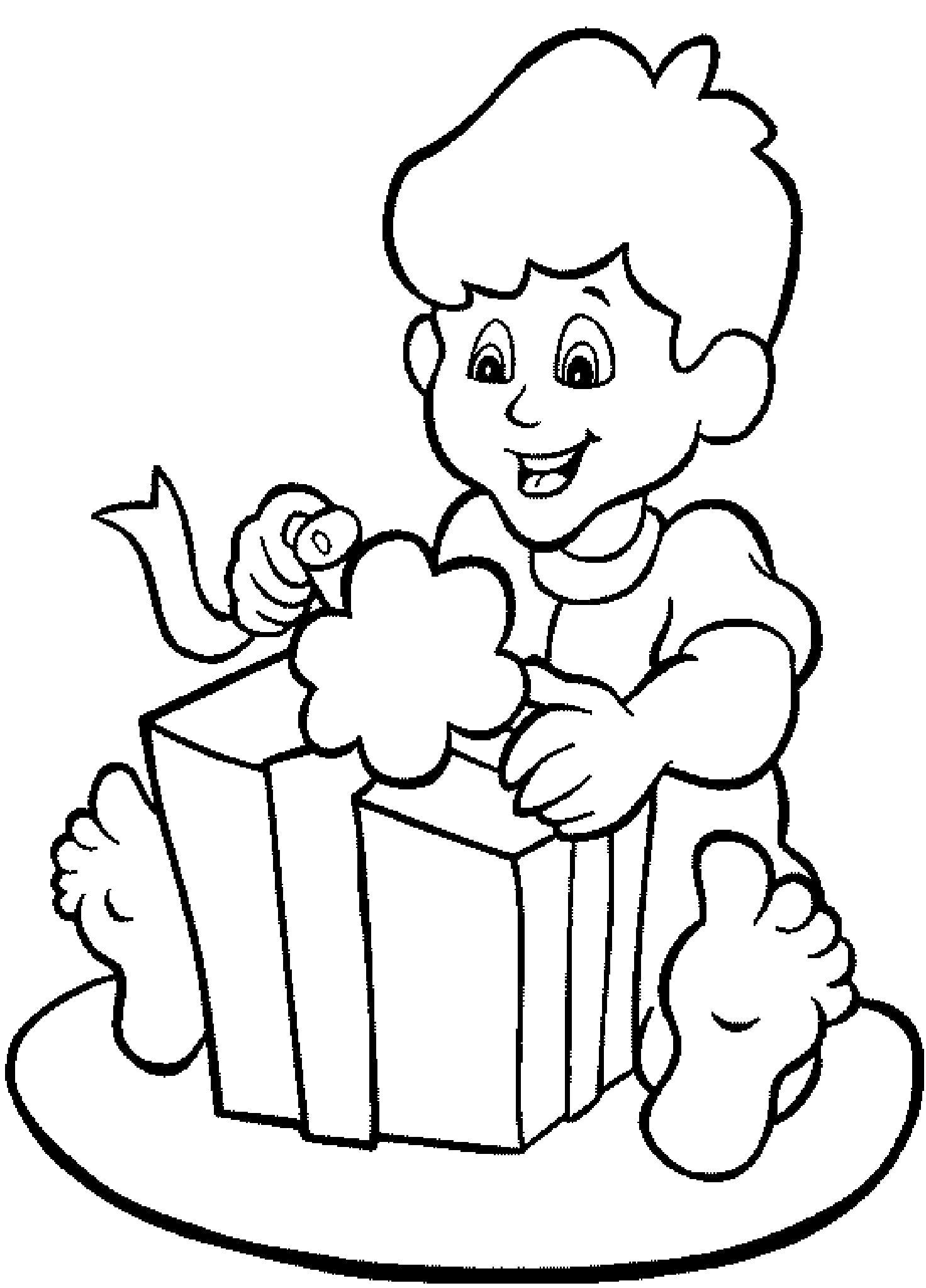 Раскраска мальчик распечатывает подарок, мальчик радуется подарку, мальчик и подарок, . Скачать День рождения.  Распечатать День рождения
