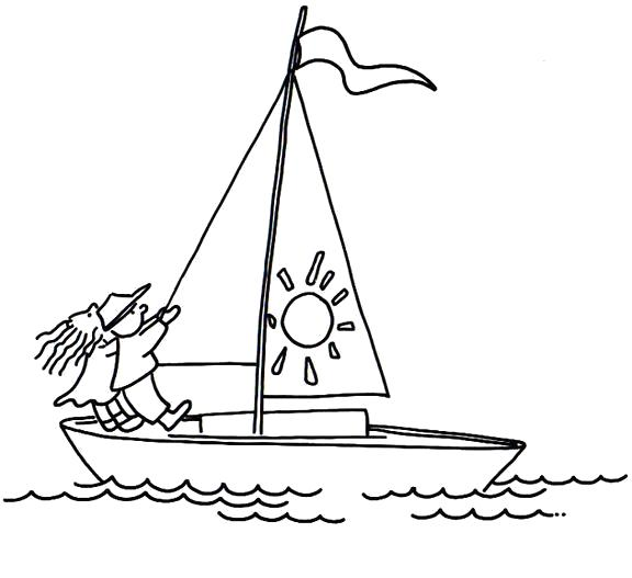 Раскраска Кораблик. Скачать Транспорт.  Распечатать Транспорт