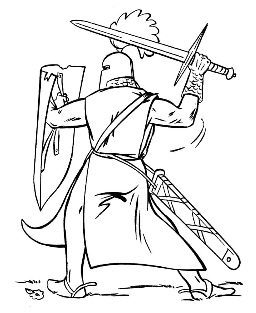 Раскраска Доблестный Рыцарь. Скачать рыцари.  Распечатать рыцари