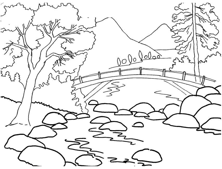 Раскраска Речка под мостом. Скачать .  Распечатать