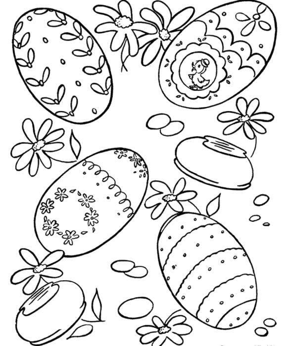 Раскраска яйца, яйца и цветочки. Скачать Пасхальные яйца.  Распечатать Пасхальные яйца