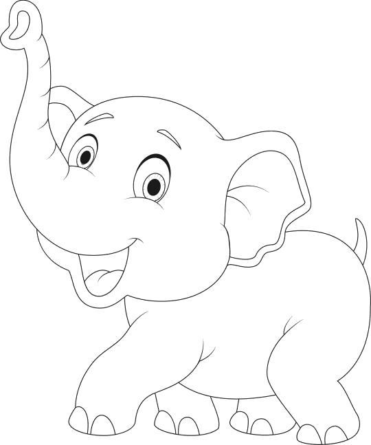 Раскраска слоненок танцует. Скачать слон.  Распечатать слон