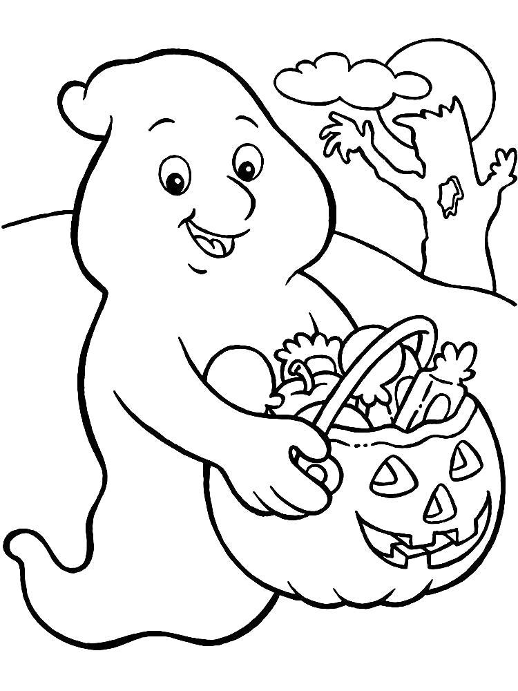 Раскраска  для детей на Хэллоуин, каспер с тыквой. Скачать Хэллоуин.  Распечатать Хэллоуин