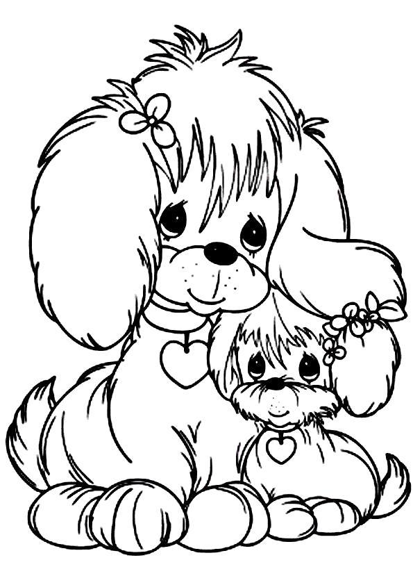 Раскраска Собака со щенком. Скачать Щенок, Собака.  Распечатать Домашние животные