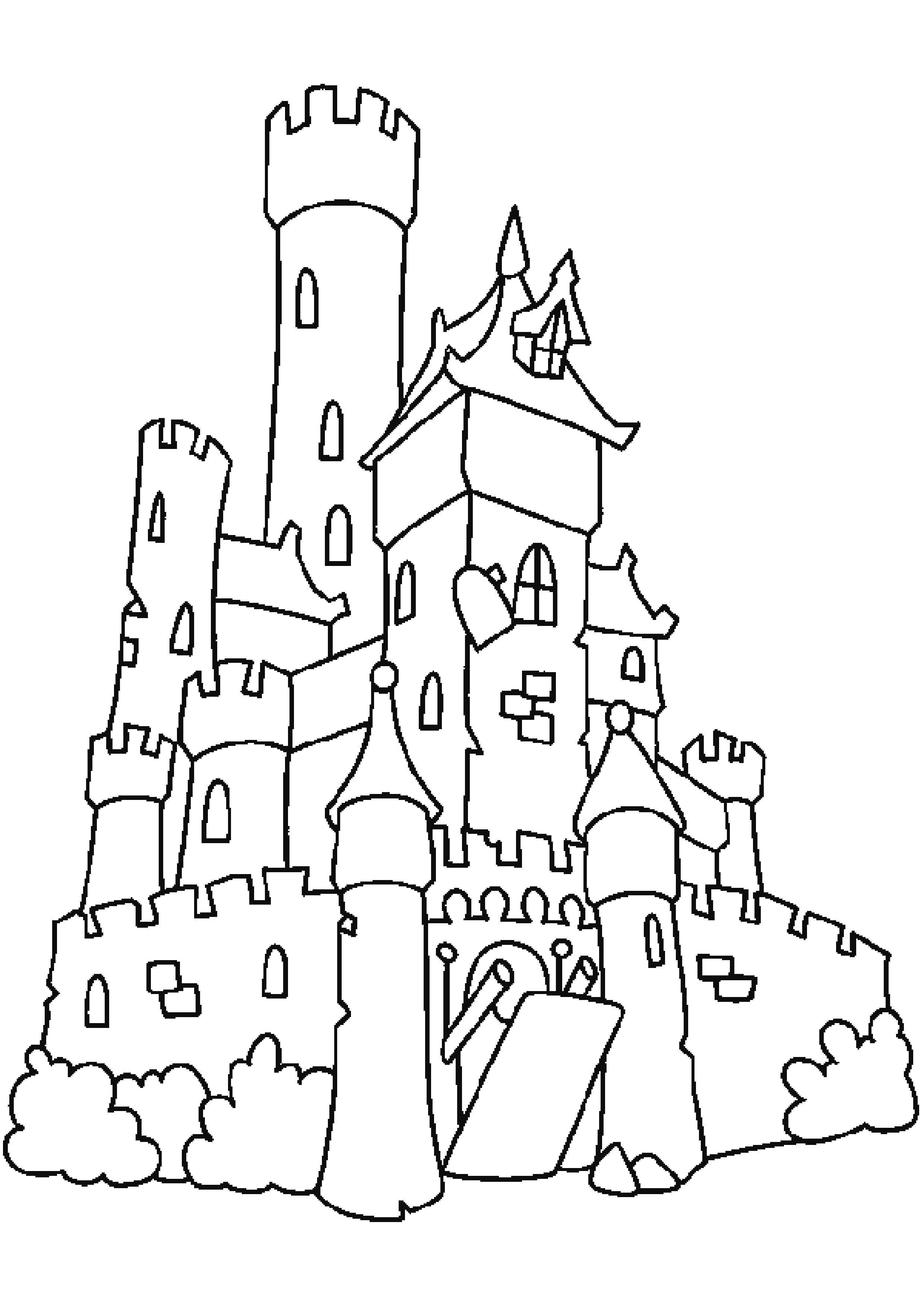 Раскраска средневековый замок. Скачать Замок.  Распечатать Замок