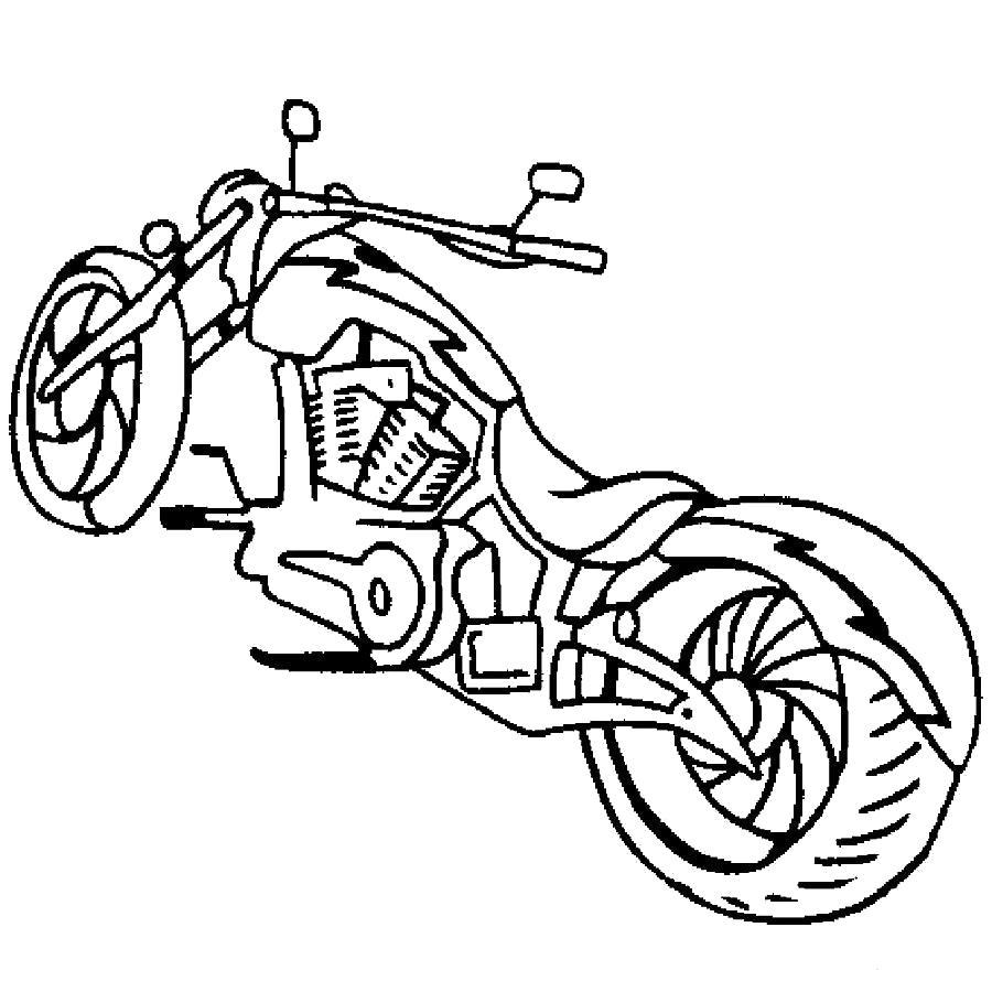 Раскраска Мотоцикл мощный мотоцикл. Скачать Мотоцикл.  Распечатать Мотоцикл