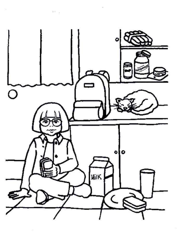 Раскраска Девочка на кухне. Скачать .  Распечатать