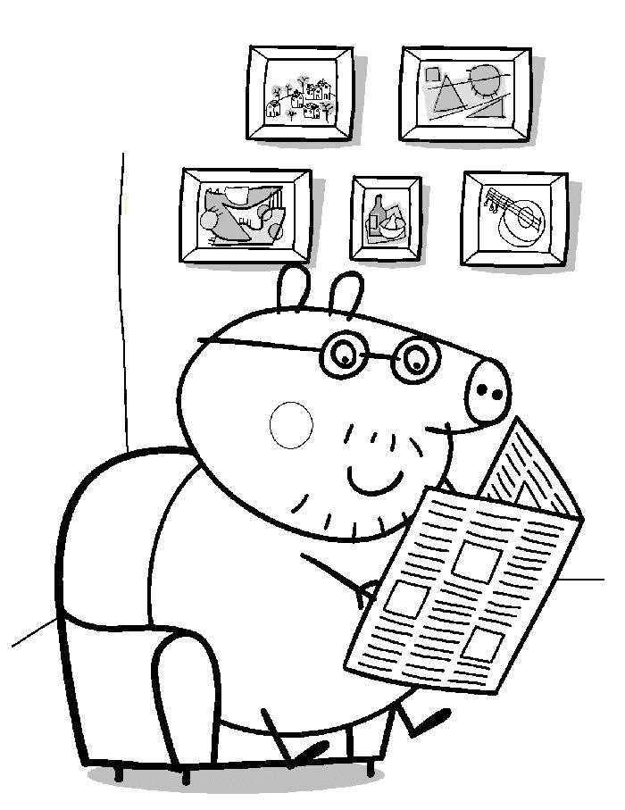 Раскраска папа свинья. Скачать Свинка Пеппа.  Распечатать Свинка Пеппа