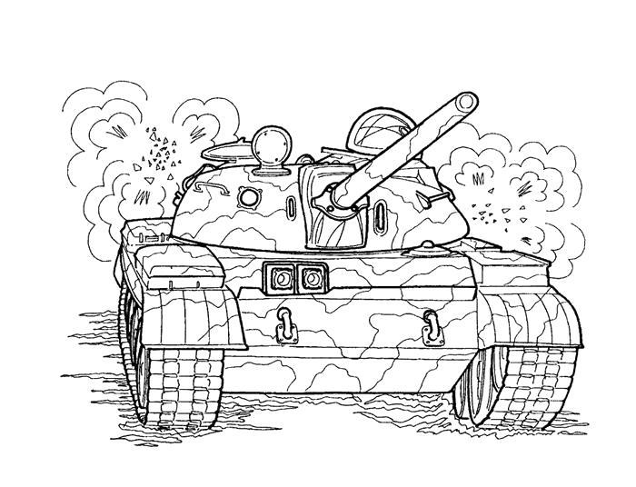 Раскраска танк. Скачать 23 февраля.  Распечатать 23 февраля