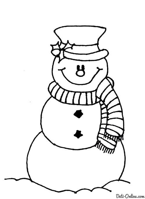 Раскраска  Снеговик в полосатом шарфе  Снеговик. Скачать снеговик.  Распечатать снеговик