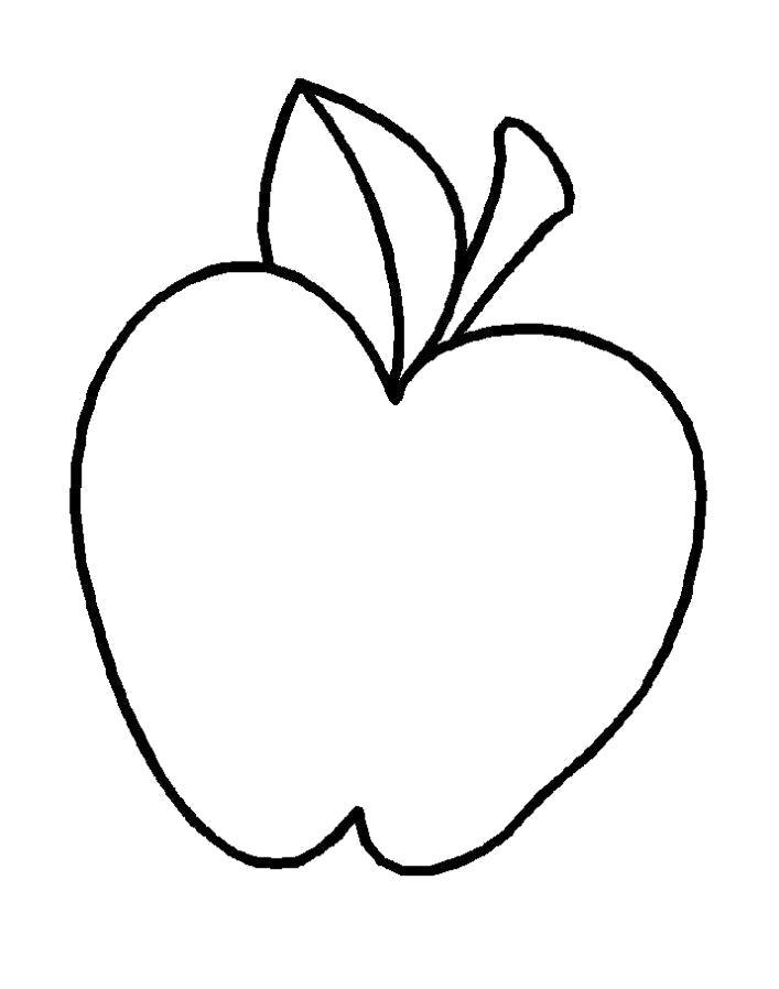 Раскраска  яблоко для самых маленьких. Скачать яблоко.  Распечатать Фрукты