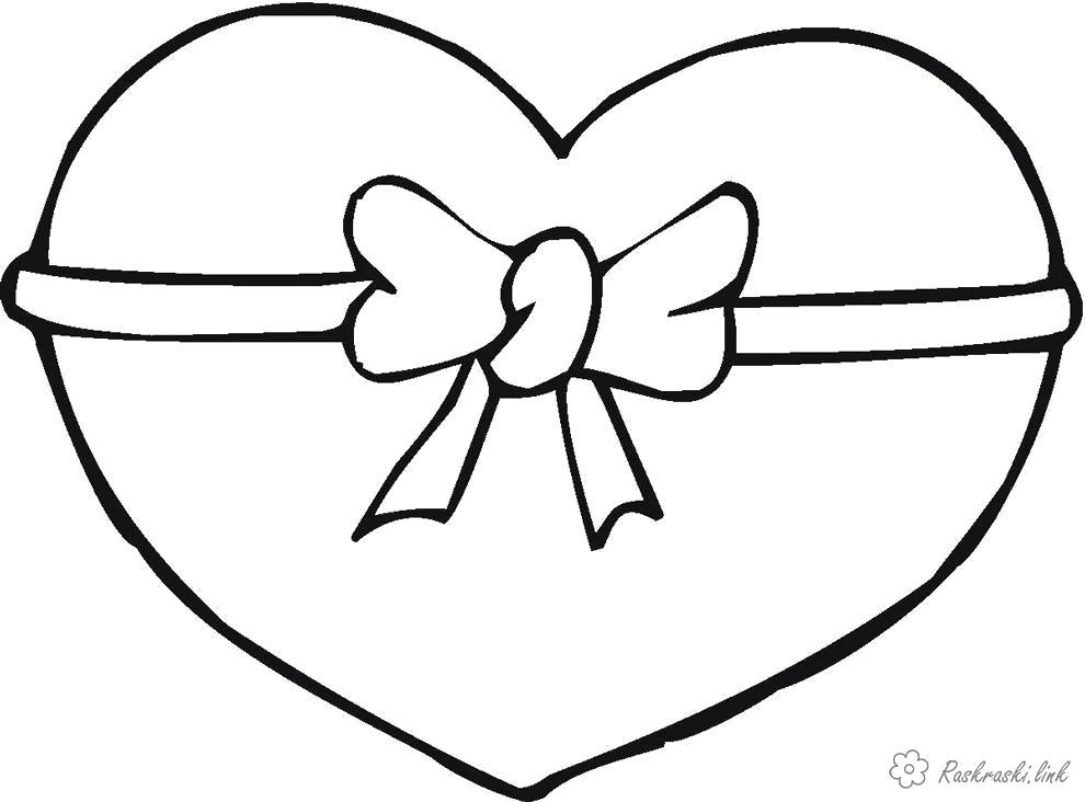 Раскраска  большое Сердце, бант, День Святого Валентина. Скачать сердце.  Распечатать День святого валентина