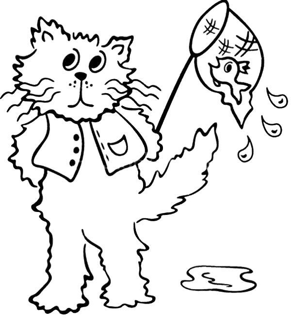 Раскраска Кот поймал рыбку. Скачать кот.  Распечатать Домашние животные