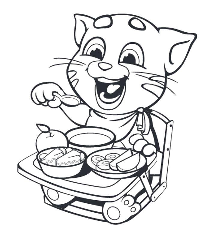 Раскраска Маленький Говорящий Том . Скачать кот.  Распечатать Домашние животные
