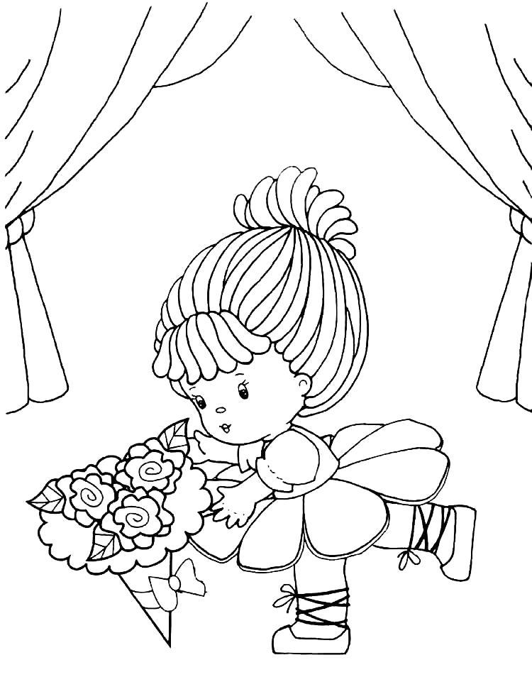 Раскраска С букетом цветов. Скачать кукла.  Распечатать кукла