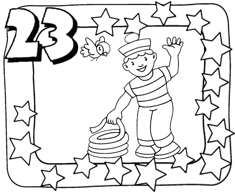 Раскраска моряк, день защитника отечества, с 23 февралем, с праздником. Скачать 23 февраля.  Распечатать 23 февраля