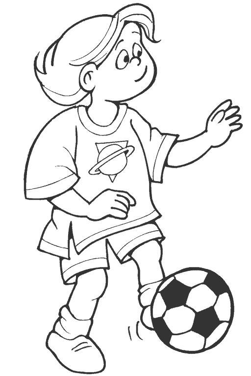 Раскраска футбольный мячик, мальчик бьет по мячу. Скачать Футбол.  Распечатать Футбол