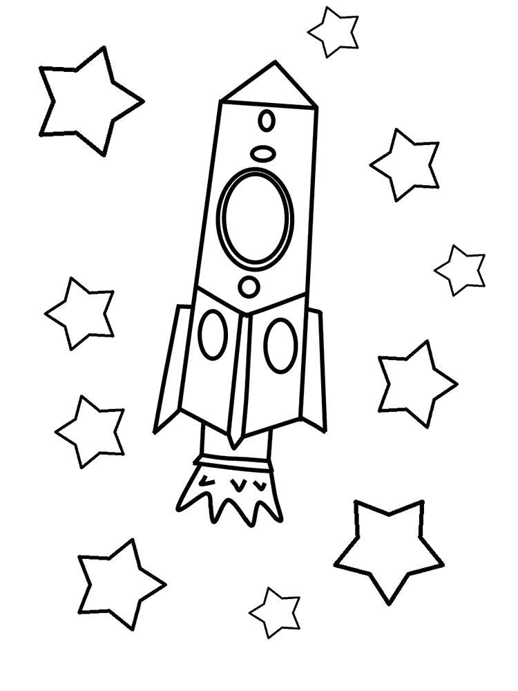 Раскраска Ракета среди звёзд. Скачать день космонавтики.  Распечатать день космонавтики