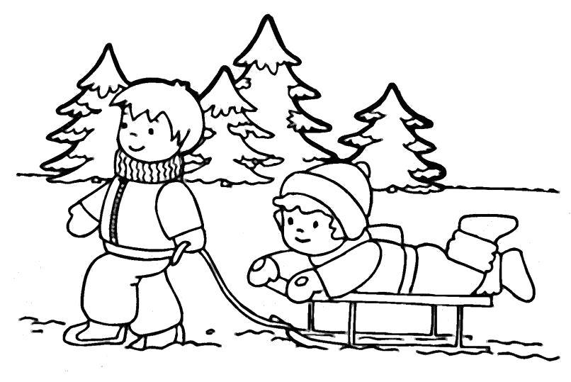 Раскраска Распечатать раскраску зима, ребята катаются на санях. Скачать .  Распечатать