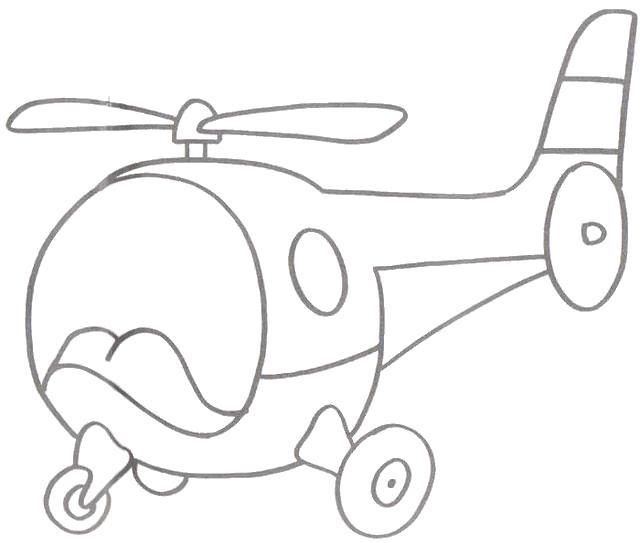 Раскраска Вертолёт. Скачать Транспорт.  Распечатать Транспорт