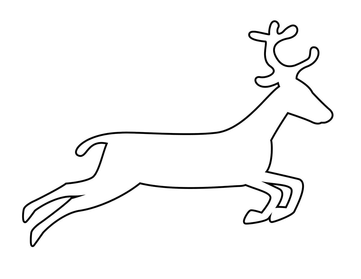Раскраска  животные шаблоны олень контур, животные трафарет для вырезания из бумаги. Скачать Олень.  Распечатать Олень